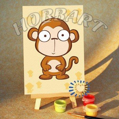 Раскраски по номерам обезьяна